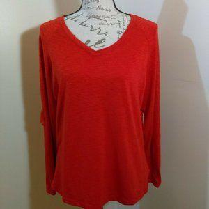 Orange Rust Pullover Top  Metal Tab Sleeves